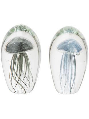 Komplet dekoracji Medusa, 2elem., Szkło farbowane, Przyciski do papieru: transparentny Meduza 1: szaroniebieski Meduza 2: czarny, Ø 8 x W 12 cm