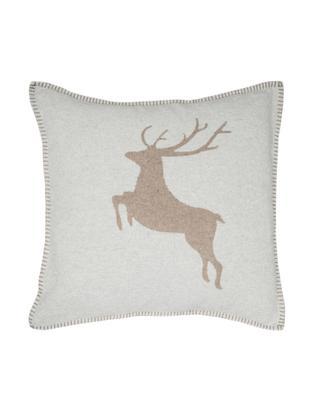 Poszewka na poduszkę z polaru Sylt Hirsch, 85%bawełna, 8%wiskoza, 7%poliakryl, Beżowy, S 50 x D 50 cm