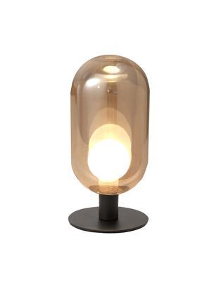 Tischleuchte Gubbio, Lampenschirm: Glas, Lampenfuß: Metall, lackiert, Bernsteifarben, Schwarz, Ø 10 x H 22 cm