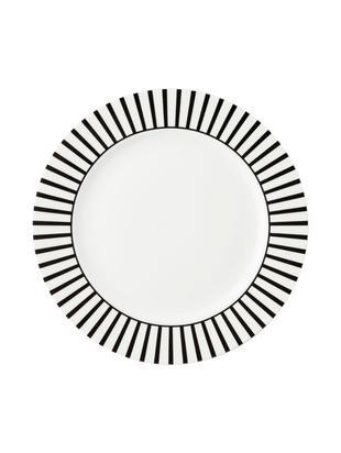Ontbijtborden Ceres Loft, 4 stuks, Porselein, Wit, zwart, Ø 21 x H 2 cm