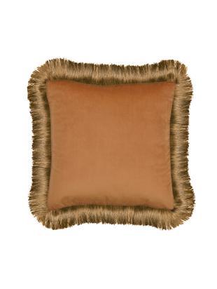 Cuscino con imbottitura Fringes, Poliestere, Arancione, Larg. 45 x Lung. 45 cm