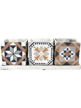 Übertopf-Set Portugal, 4-tlg., Beton, Mehrfarbig, 36 x 13 cm