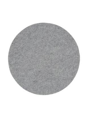 Manteles individuales de fieltro de lana Leandra, 4uds., 90% lana, 10% polietileno, Gris claro, Ø 40 cm