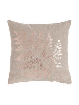 Cojín con estampado brillante Big Fern, con relleno, Funda: algodón Relleno poliéster, Color arena, bronceado, An 45 x L 45 cm