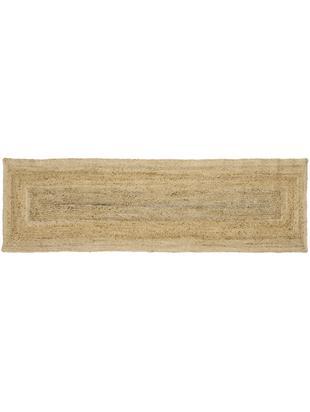 Alfombra artesanal de yute Sharmila, Parte superior: yute, Reverso: yute, Beige, An 80 x L 250 cm