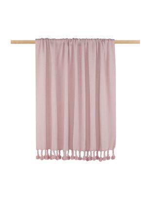 Manta Sorbet, Material reciclado de la industria de la moda de colores diferentes 100%algodón, Rosa, An 130 x L 186 cm