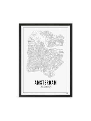 Impresión digital enmarcada Amsterdam, Ilustración: negro, blanco Marco: negro, mate, An 42 x Al 53 cm