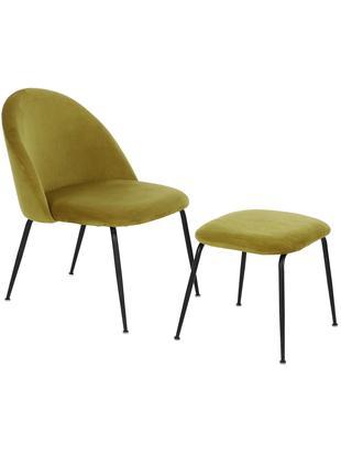 Samt-Lounge-Set Villum, 2-tlg., Bezug: Samt (Polyester) 25.000 S, Bezug: Samt (Polyester) 25.000 S, Samt Bernsteinfarben, Verschiedene Grössen