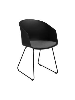 Sedie con braccioli    Bogart, 2 pz., Seduta: materiale sintetico, Rivestimento: poliestere, Gambe: metallo verniciato, Sedia: nero Cuscino del sedile: grigio scuro Gambe: nero, L 51 x A 81 cm