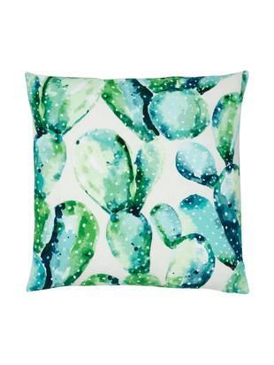 Federa arredo con stampa cactus Tobin, Cotone, Verde, bianco crema, Larg. 50 x Lung. 50 cm
