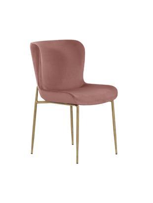 Krzesło tapicerowane z aksamitu Tess, Tapicerka: aksamit (poliester) 3000, Nogi: metal powlekany, Aksamitny brudny różowy, nogi: złoty, S 48 x W 84 cm