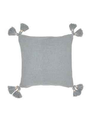 Federa arredo in cotone organico con nappe Fly, Cotone organico, Grigio chiaro, Larg. 45 x Lung. 45 cm