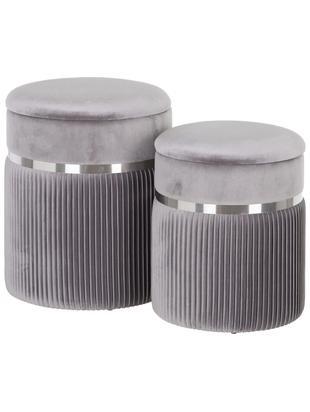 Komplet pufów z miejscem do przechowywania Chest, 2 elem., Tapicerka: poliester (aksamit), Szary, odcienie srebrnego, Różne rozmiary
