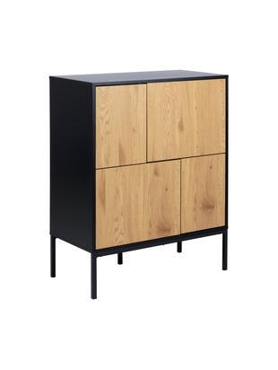 Ladekast Seaford met houten deuren, Frame: gelakt MDF, Poten: gepoedercoat metaal, Zwart, wild eikenhout, 80 x 103 cm