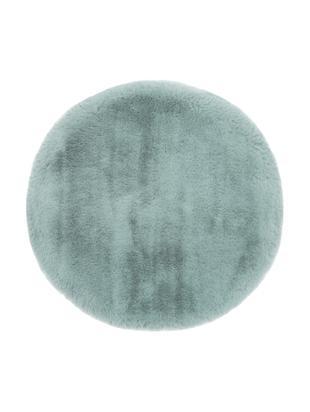 Cuscino sedia in pelliccia sintetica Matte, liscio, Retro: 100% poliestere, Verde, Ø 37 cm