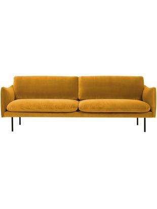 Fluwelen bank Moby (3-zits), Bekleding: fluweel (hoogwaardige pol, Frame: massief grenenhout, Poten: gepoedercoat metaal, Mosterdgeel, B 220 x D 95 cm