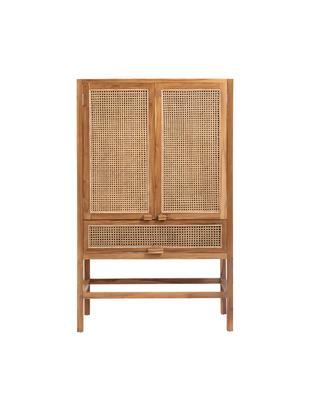 Credenza in legno di teak e rattan Aising, Legno di teak, Larg. 100 x Alt. 160 cm