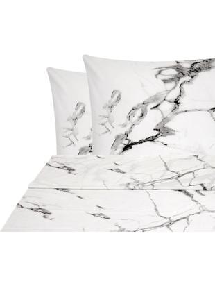 Set lenzuola in percalle Malin 3 pz, Tessuto: percalle Densità del filo, Fronte: modello in marmo, rosa Retro: rosa, monocolore, 240 x 300 cm