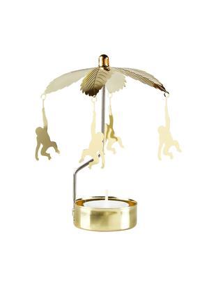 Teelichthalter Monkey-go-round, Aluminium, lackiert, Messingfarben, Ø 10 x H 14 cm