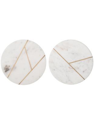Set piatti piani in marmo Marble, 2 pz., 100% marmo, Bianco, marmo, dorato, Ø 18 cm