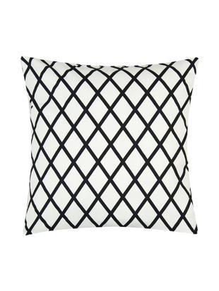 Kissenhülle Romy mit Rautenmuster in Schwarz/Weiß, Baumwolle, Panamabindung, Schwarz, Creme, 40 x 40 cm