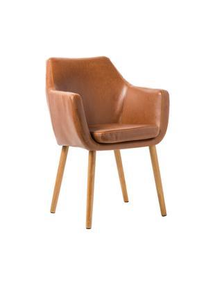 Sedia con braccioli  Nora, Rivestimento: pelle ecologica (poliuret, Gambe: legno di quercia, Cognac, Larg. 56 x Alt. 82 cm
