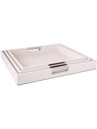 Deko-Tablett-Set Megan, 3-tlg., Tablett: Mitteldichte Holzfaserpla, Außen: Kunstleder, Griffe: Metall, Unterseite: Samtbezug, Beige, Sondergrößen