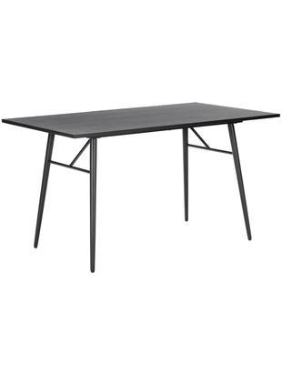 Tavolo da pranzo con struttura in metallo Jette, Piano d'appoggio: impiallacciato rovere ver, Gambe: metallo verniciato a polv, Nero, Larg. 140 x Prof. 80 cm