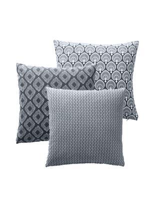 Gemustertes Kissenhüllen 3er Set Cousin in Grau, Baumwolle, Grau, Weiß, 45 x 45 cm