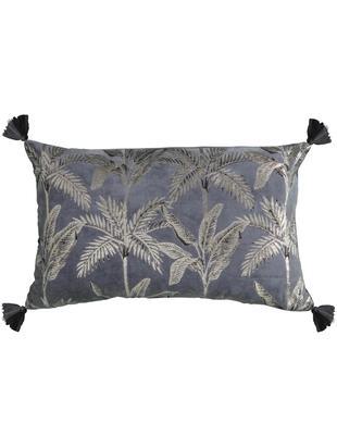 Cuscino con imbottitura Palm, Cotone, Grigio, Larg. 30 x Lung. 50 cm