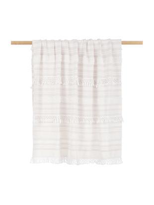 Baumwollplaid Nara mit Fransen in Creme/Beige, 100% Baumwolle, Cremeweiss, Beige, 130 x 170 cm