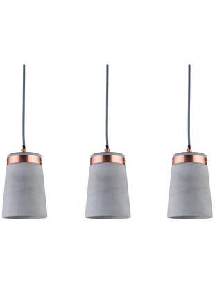 Betonnen hanglamp Stig, Lampenkap: beton, Betongrijs, koperkleurig, 60 x 17 cm