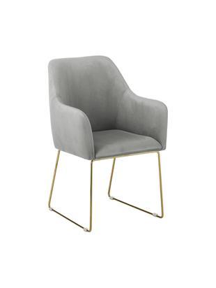 Krzesło z aksamitu z podłokietnikami Isla, Tapicerka: aksamit (poliester) 5000, Nogi: metal powlekany, Szary, S 58 x G 62 cm