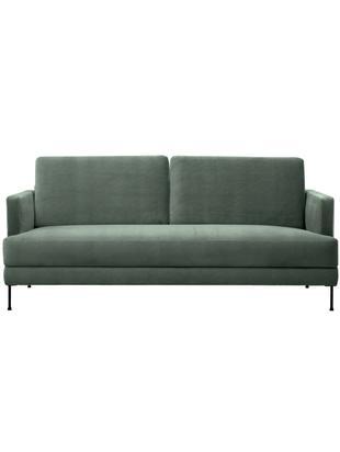 Sofa z aksamitu Fluente (3-osobowa), Tapicerka: aksamit (wysokiej jakości, Stelaż: lite drewno sosnowe, Nogi: metal lakierowany, Zielony aksamit, S 197 x G 83 cm
