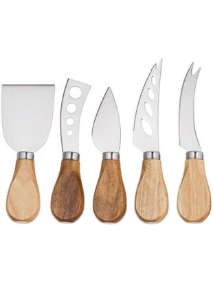 Komplet noży do sera Frija, 5 elem., Drewno akacjowe, stal szlachetna, Różne rozmiary