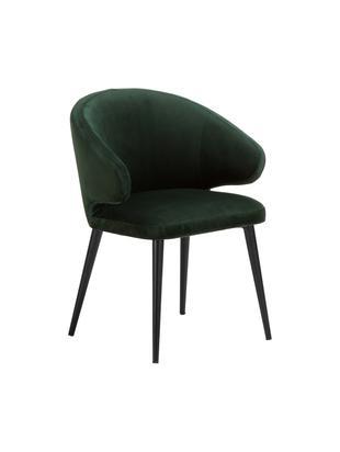 Sedia con braccioli in velluto Celia, Rivestimento: velluto (poliestere) 50.0, Gambe: metallo verniciato a polv, Verde scuro, Larg. 57 x Prof. 62 cm