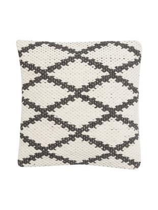Poszewka na poduszkę Alexis, 50% wełna, 25% bawełna, 25% poliester, Kremowobiały, czarny, S 45 x D 45 cm