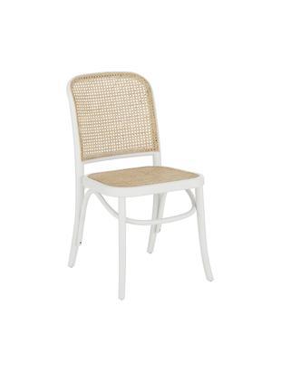 Krzesło Franz, Stelaż: lite drewno brzozowe, lak, Siedzisko: rattan Stelaż: drewno brzozowe, biały lakierowany, S 48 x G 59 cm