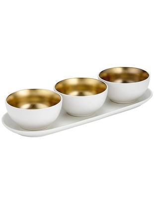 Set de cuencos Glitz, 4pzas., Gres, Blanco, dorado, Ø 11 x Al 6 cm