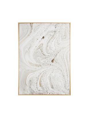 Stampa su tela incorniciata Marble, Immagine: stampa digitale su lino, Cornice: metallo rivestito, Bianco, grigio, dorato, Larg. 50 x Alt. 70 cm