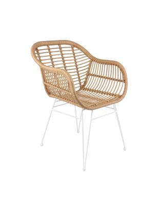 Polyrattan-Armlehnstühle Costa, 2 Stück, Sitzfläche: Polyethylen-Geflecht, Gestell: Metall, pulverbeschichtet, Sitzfläche: Hellbraun Gestell: Weiß, matt, B 60 x T 58 cm