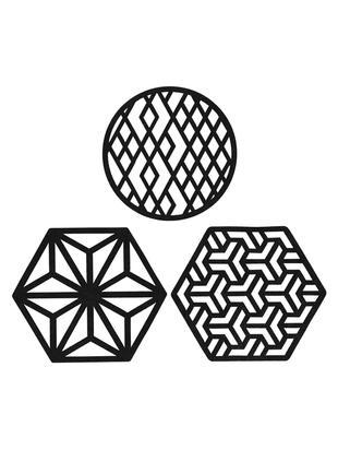 Komplet podstawek Rama, 6 elem., Sztuczna skóra, Czarny, Ø 9 x W 2 cm