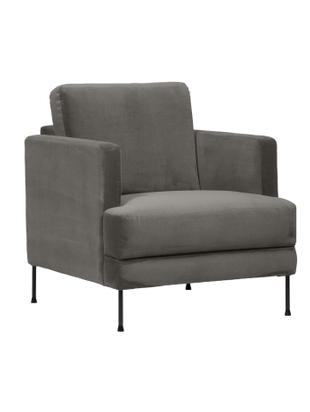 Samt-Sessel Fluente, Bezug: Samt (Hochwertiger Polyes, Gestell: Massives Kiefernholz, Füße: Metall, lackiert, Samt Braungrau, B 76 x T 83 cm