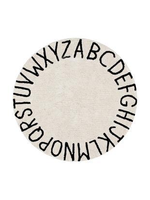 Teppich ABC, rund, Flor: 80% Baumwolle, 20% recyce, Beige, Schwarz, Ø 150 cm (Größe M)