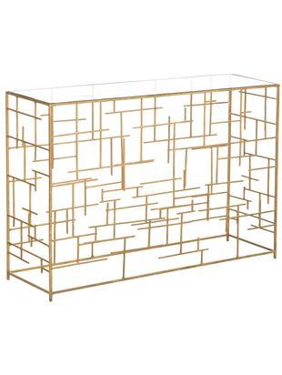 Konsole Nola aus Glas und goldfarbenem Metall, Ablagefläche: Glas, Gestell: Metall, beschichtet, Goldfarben, B 120 x T 35 cm