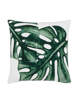 Kissenhülle Tropics mit Monstera Print in Grün/Weiß, Baumwolle, Grün, Weiß, 40 x 40 cm