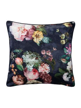Samt-Kissen Fleur mit Blumenmuster, mit Inlett, Bezug: Polyestersamt, Dunkelblau, Mehrfarbig, 50 x 50 cm