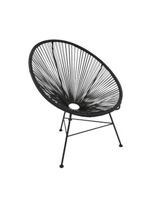 Fotel Bahia, Stelaż: metal malowany proszkowo, Tworzywo sztuczne: czarny Stelaż: czarny, S 81 x G 73 cm