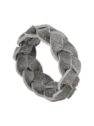 Obrączka na serwetkę ze skóry Tannri, 6 szt., Skóra bawola, Szary, Ø 5 cm