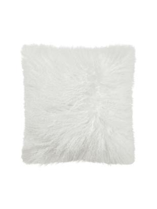 Poduszka ze skóry owczej z długim włosiem Curly, Odcienie kości słoniowej, S 35 x D 35 cm